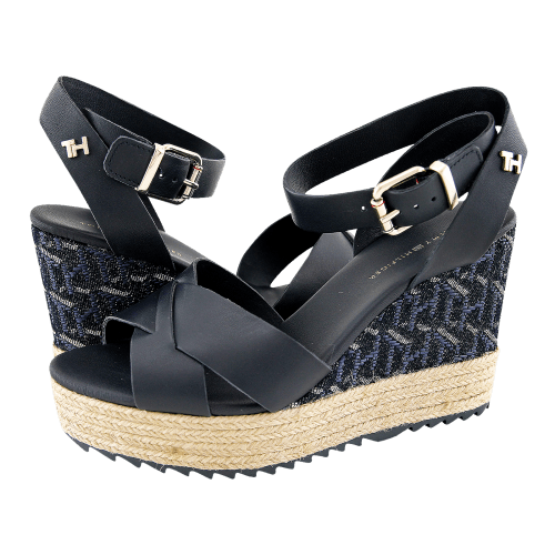 Πλατφόρμες Tommy Hilfiger TH Raffia High Wedge Sandal