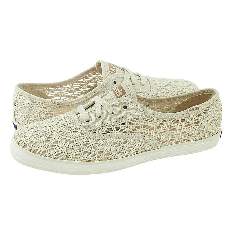 Compiano - Γυναικεία παπούτσια casual Keds από δαντελα και υφασμα ... 53a889897d8