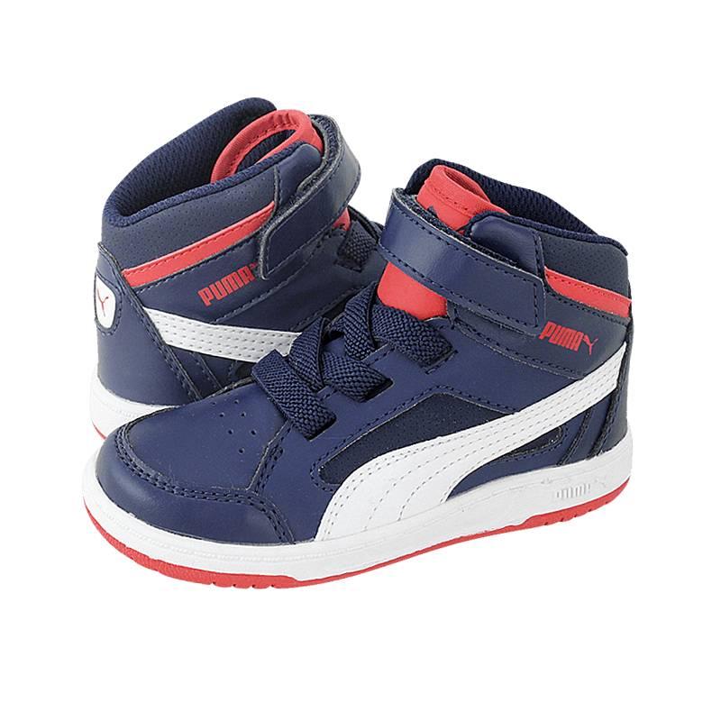 Rebound V2 Hi - Παιδικά αθλητικά παπούτσια Puma από δερμα συνθετικο ... dc65c3e9b6b